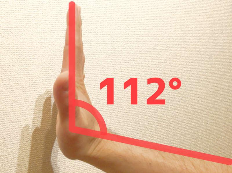 パントマイムの壁の手首の角度