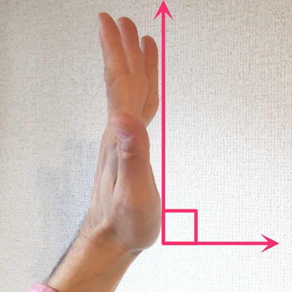 パントマイムの壁の手を広げた際中指がでていないか