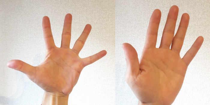 パントマイムの壁の手を触るときに指の感覚は広がっているか